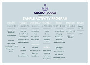 Anchor Lodge activities